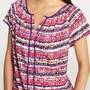 Ann Taylor Woodblock Multi Color Blouse